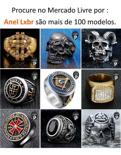 anel aço inox 316l caveira punk moto preto illuminati maçonaria maçom mason hip hop viking diabo lucifer mc lxbr a100