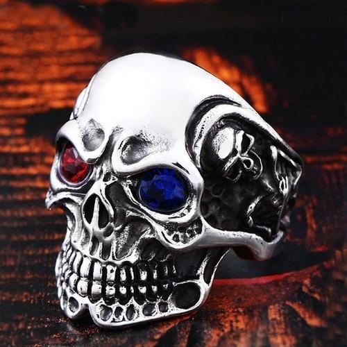 anel aço inox caveira rock punk emo metal gótico moto carro