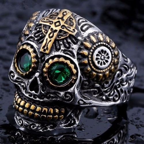 anel aço inox caveira rock punk emo motoqueiro metal gótico