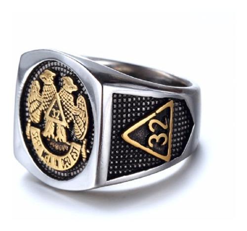 anel aço inox ouro 18k aço inox maçonaria hip hop lxbr a181