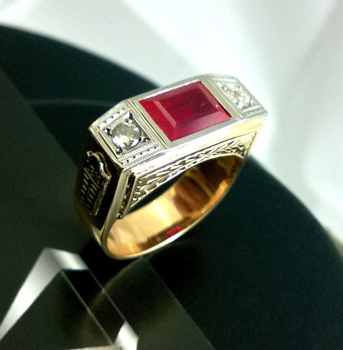 anel advogado formatura direito rubi diamantes ouro 18k. Carregando zoom. c14274b53d