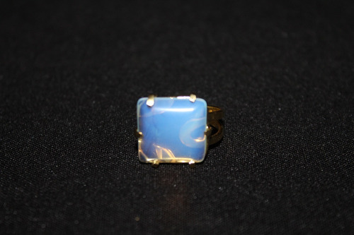 anel ajustável cristal pedra da lua quadrado banho de ouro