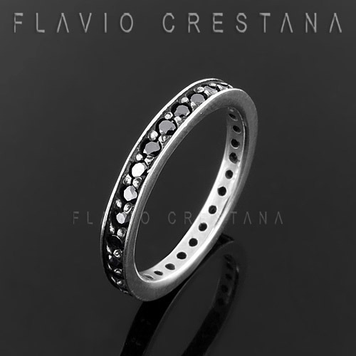 anel aliança aparador zirconia negra, prata 925, fabricao propria - 11044402