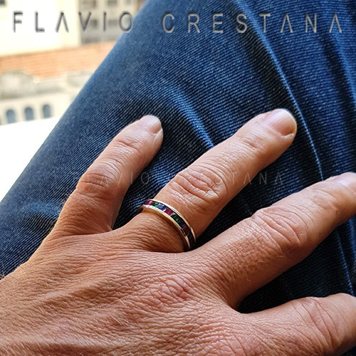 anel alianca aparador, zirconias coloridas, prata 925. fabri