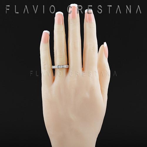 anel alianca aparador, zirconias, prata 925 com banho de ród