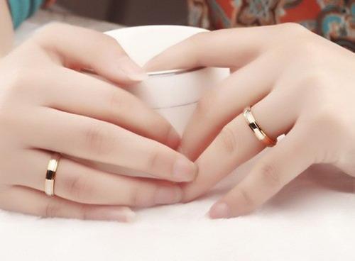 anel aliança  banhado prata e ouro 18k