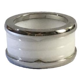 Anel Aliança Cerâmica Branca Bordas Titanium Prata Aço Inox