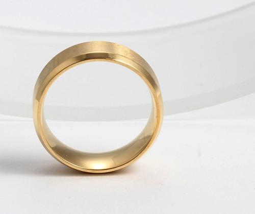 anel aliança escovada noivado casamento banho ouro (unidade)