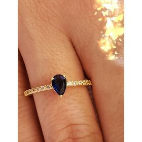Anel Aliança Gota Mini Cristal Azul Bruna Semijoias