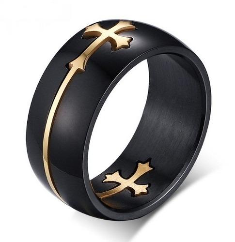 anel aliança masculino aço titanio preto cruz banhada ouro