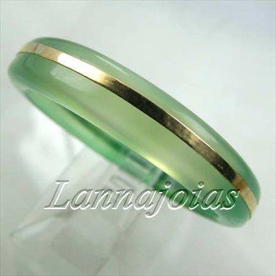 20b73c1c268 Anel Aliança Ouro18k Pedra Ágata Verde Esmeralda +fretegrats - R ...