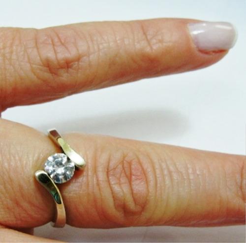 anel aliança solitario em prata e ouro e zirconia - a175