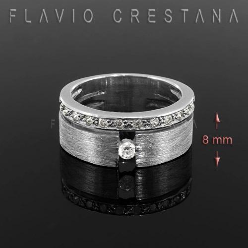 anel alianca  zirconia, prata 925, banho de  rodio  - 110388