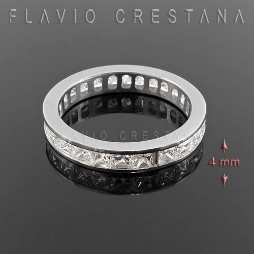 anel alianca, zirconias, prata 925 com banho de rodio. fabri