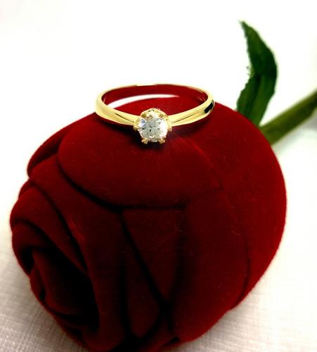 anel  aniversário noivado 100% ouro maciço 18k-750