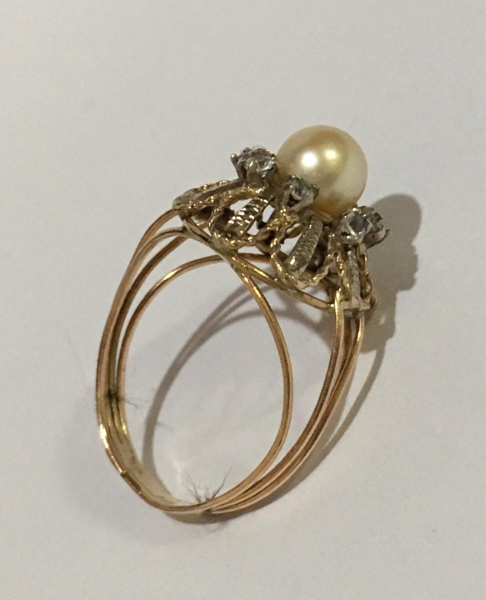 10daa197434 anel antigo ouro 18 pérola brilhantes lindo !!!! Carregando zoom.