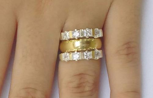anel aparador prata 950 3 apliques ouro puro pedras zircônia