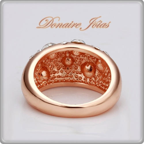 anel aro 20 banhado ouro branco ou rose 18k com zircônia