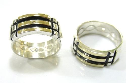 anel atlantis prata 925 com filete fios de ouro infinito