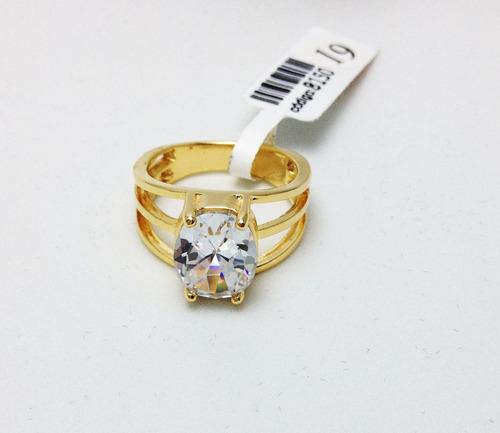 anel banhado a ouro 18k com pedra branca de zirconia