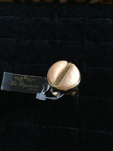 anel banhado a ouro 18k com pedra natural bege e zirconio
