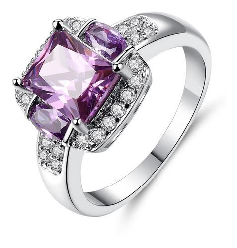 anel banhado ouro branco 925 pedra zirconia lilas lindo top
