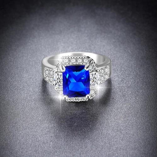 anel banhado ouro branco pedra lilas azul safira formatura