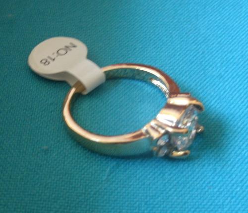 anel banhado ouro pedra redonda tipo cristal m1 aro 18