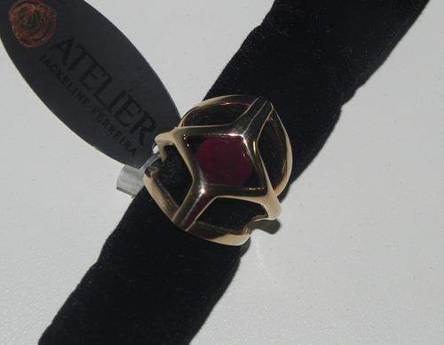 anel banhado semijoia ouro 18k, quartzo fumê, granada