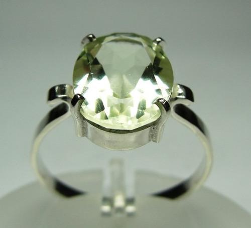 anel brasilionita verde lapidação oval em prata 950 c59