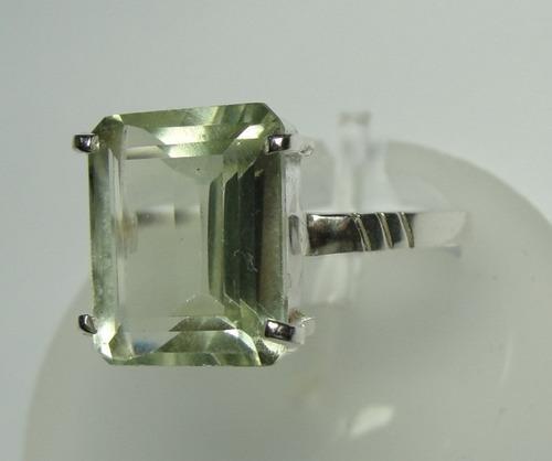 anel brasilionita verde lapidação princess em prata 950