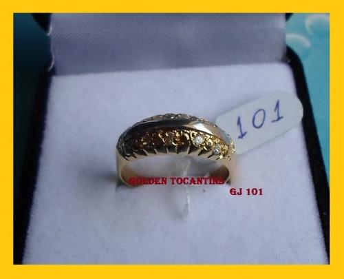 anel c/ brilhante mais barato folheado a ouro gj 101
