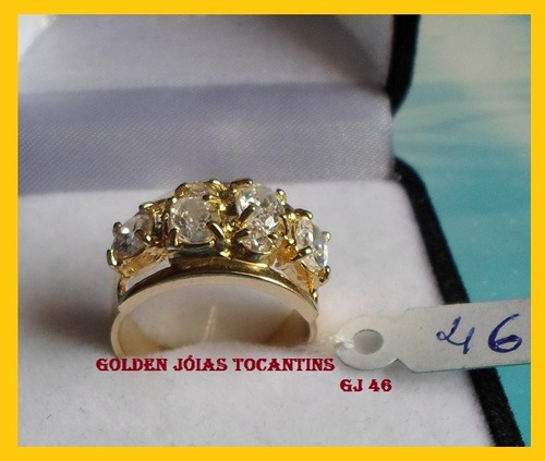 anel c/ brilhante mais barato folheado a ouro  gj 46
