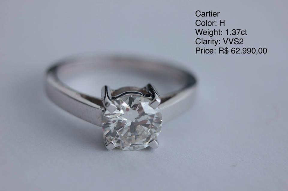 32eecc4fd28 Anel Cartier Diamante   Ouro Branco 1.32ct - Modelo Luxo - R  62.990 ...
