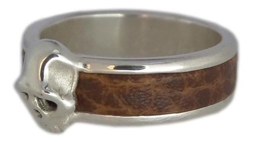 anel caveira com couro em prata