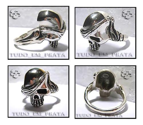 anel caveira / crânio pirata em prata