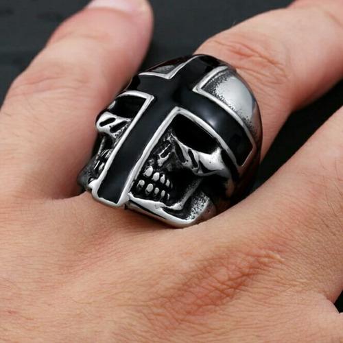 anel caveira cruz - aço 316l - templarios moto harley maçon