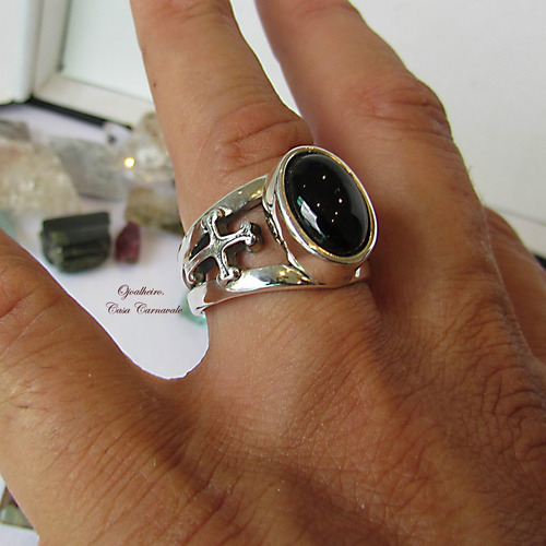 anel caveira cruz e onix em prata maciça