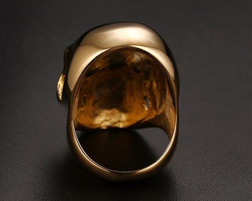 anel caveira folheado