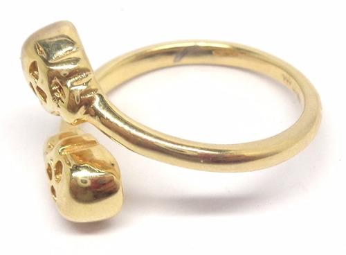anel caveira folheado a ouro 18k