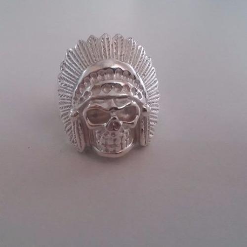 anel caveira indio cocar prata legitima 925 dedeira + brinde