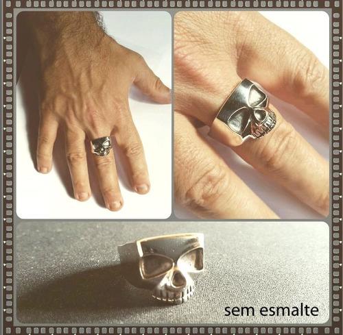 anel caveira johnny depp em prata com esmalte preto