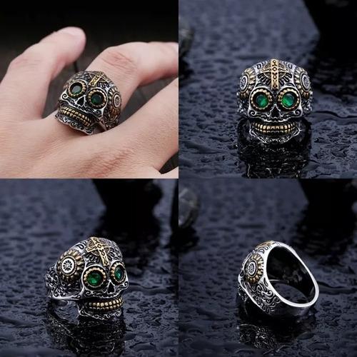 anel caveira mexicana aço inoxidável
