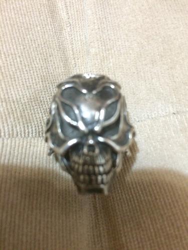 anel caveira prata alta qualidade importado flame moto rock