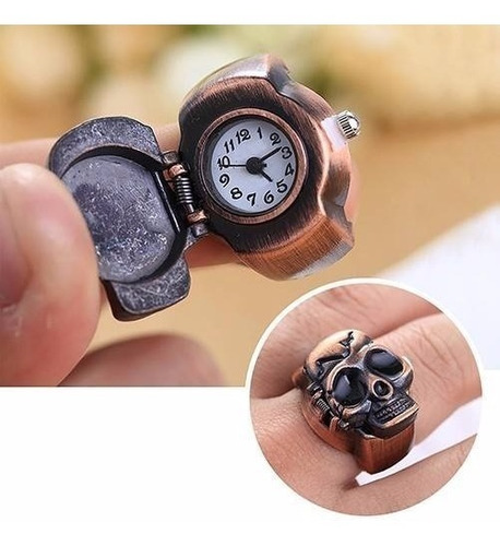 anel caveira/ relógio