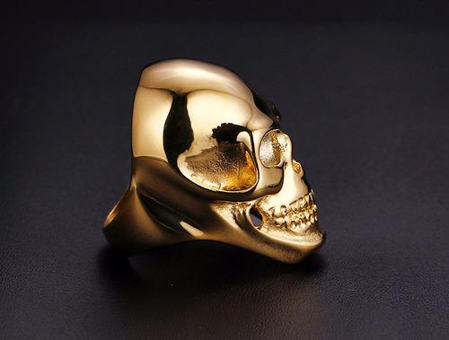 anel caveira  titânio folheado motoqueiro moto harley rock
