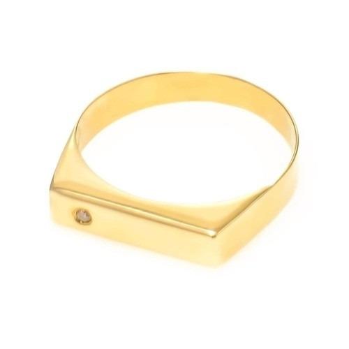 9f9cf25fd1bbb Anel Chapinha Em Ouro 18k Com Diamante - Cwb Joias - R  1.031,75 em ...