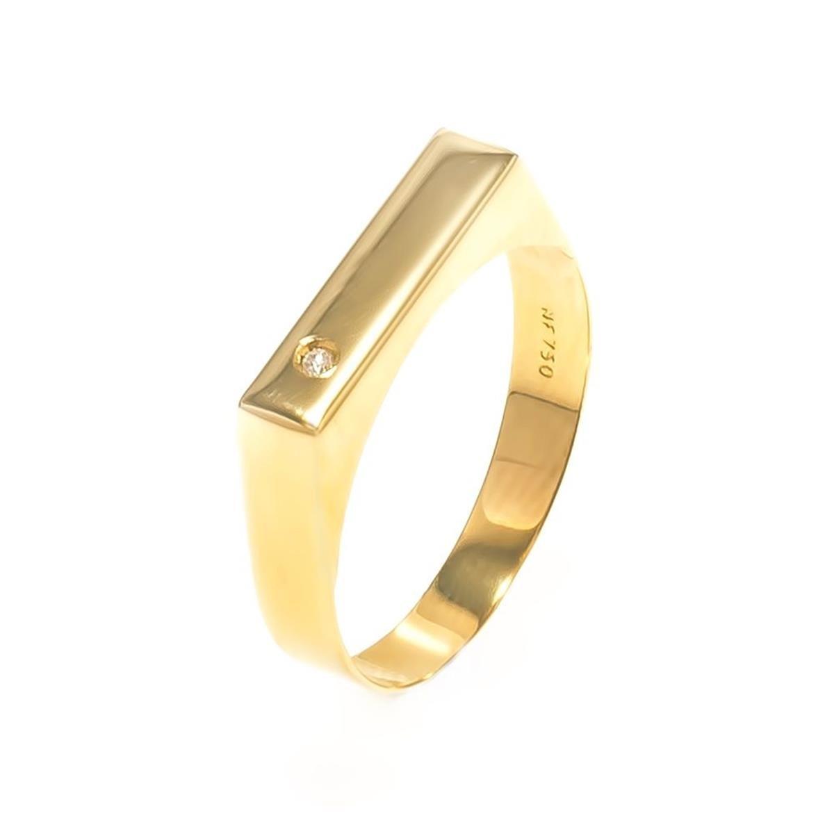 216172fcdd9a9 Anel Chapinha Ouro 18k Com Diamante Mod. Cj1545 - R  945,00 em ...