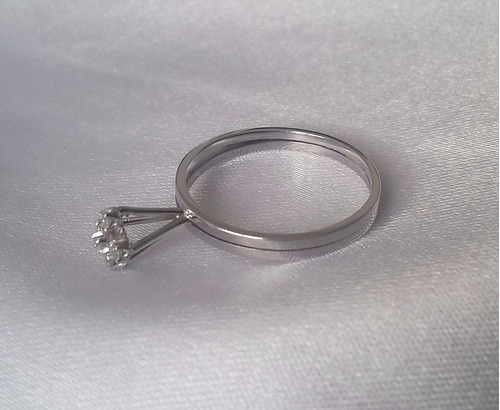 anel chuveiro de ouro branco 18k e brilhantes