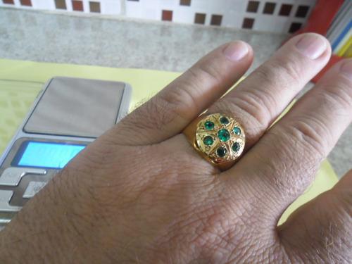 anel chuveiro masculino em ouro 18 com 7 esmeraldas